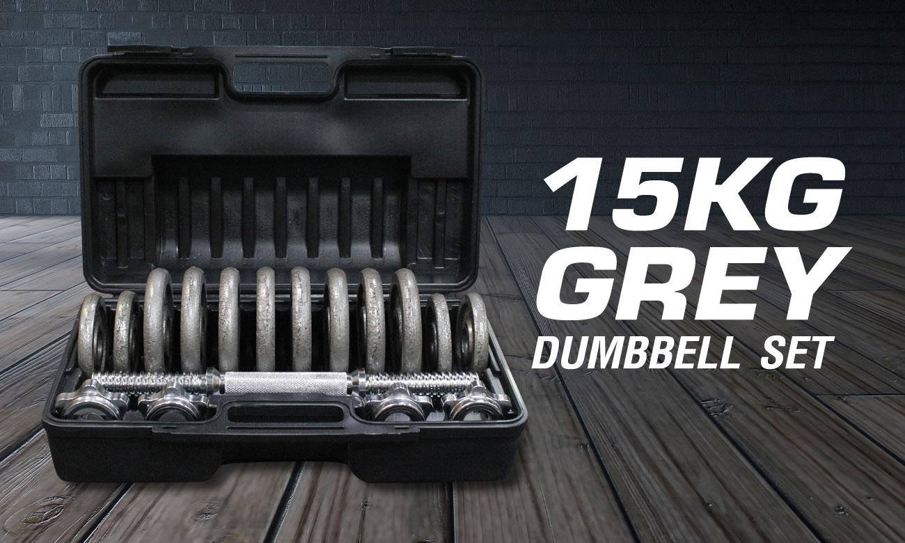 15KG Grey Dumbbell Set