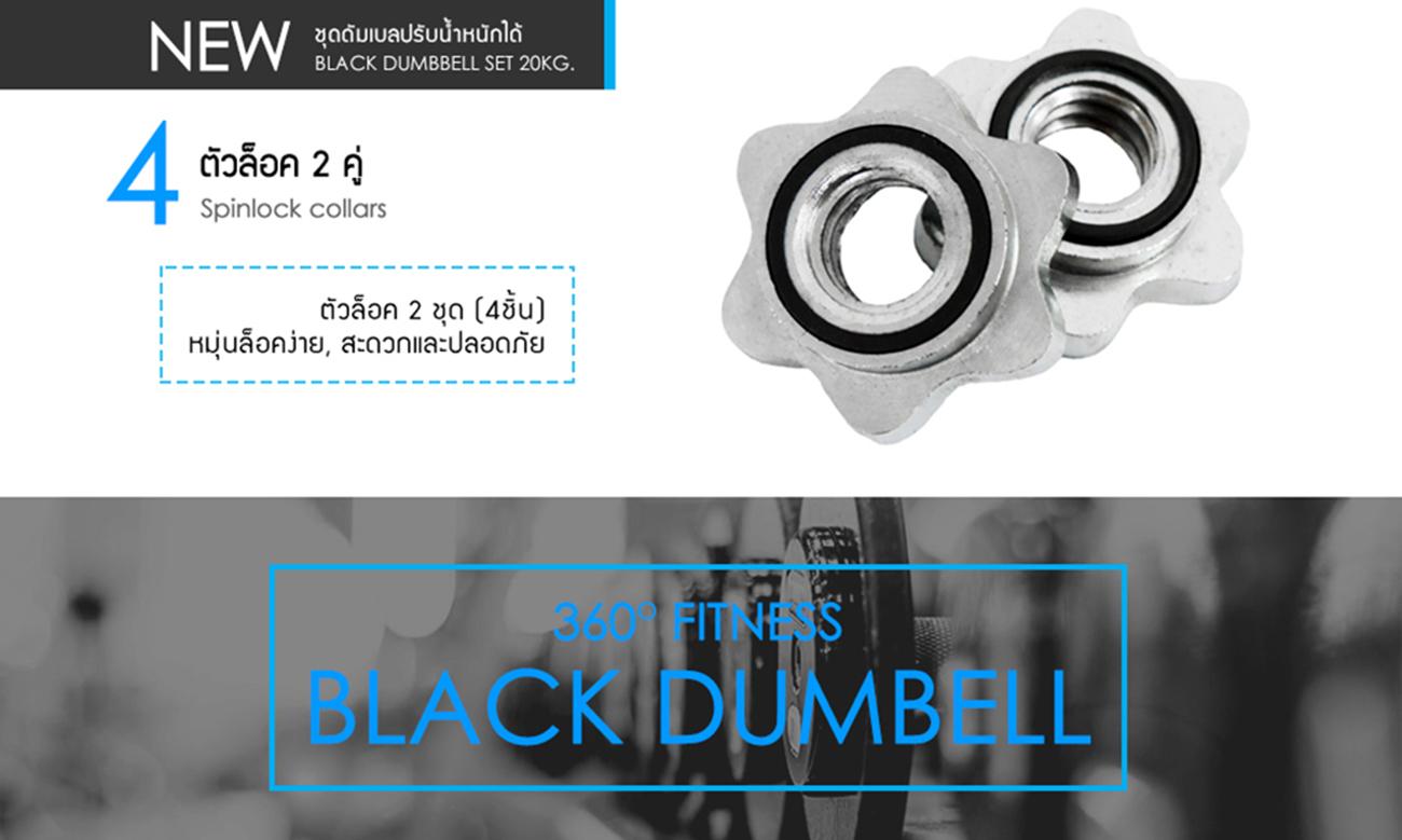 20KG BLACK DUMBBELL SET - T Chromed Bar