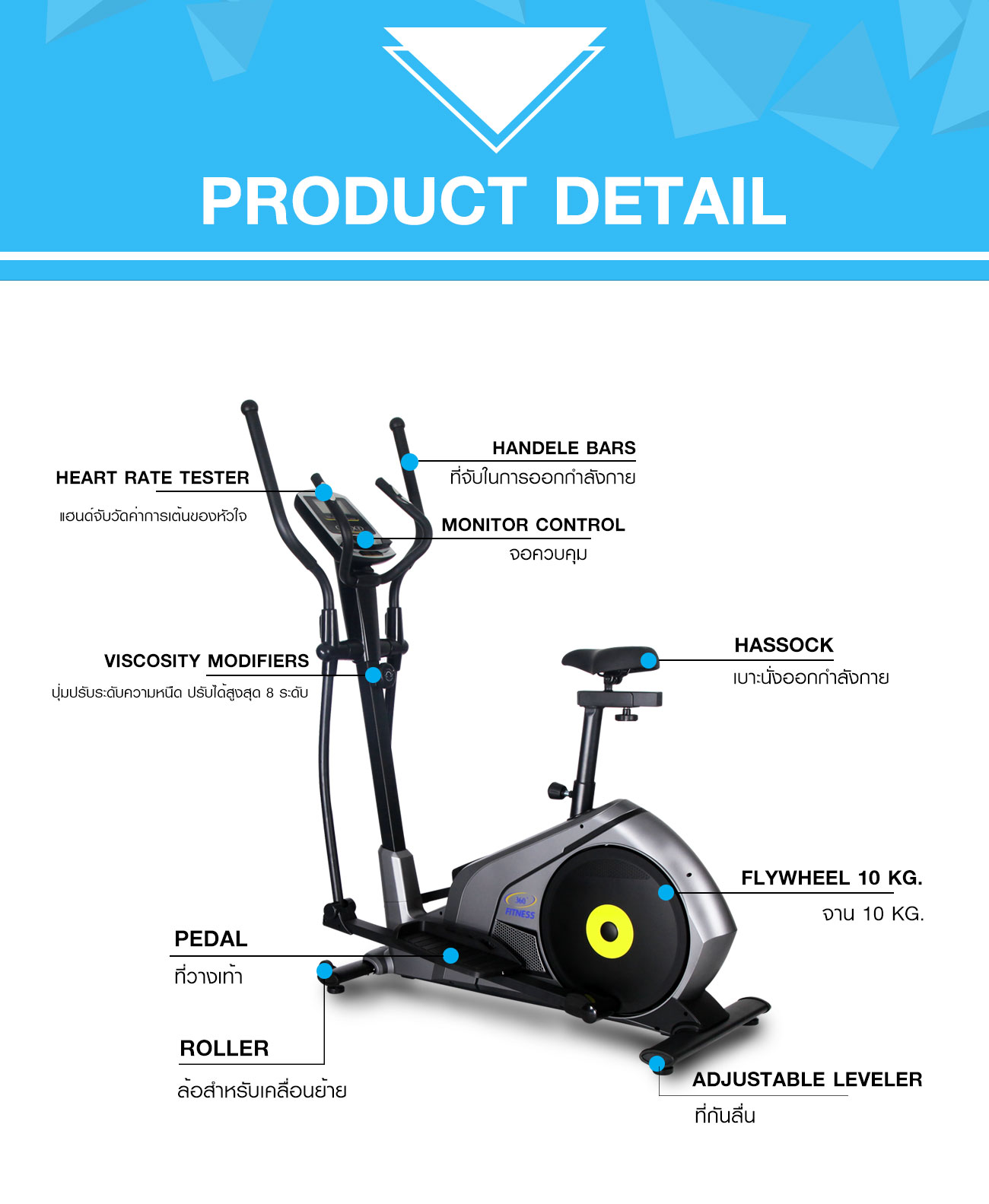 Magnetic Elliptical Bike 10KG รุ่นYK-BK8732HA