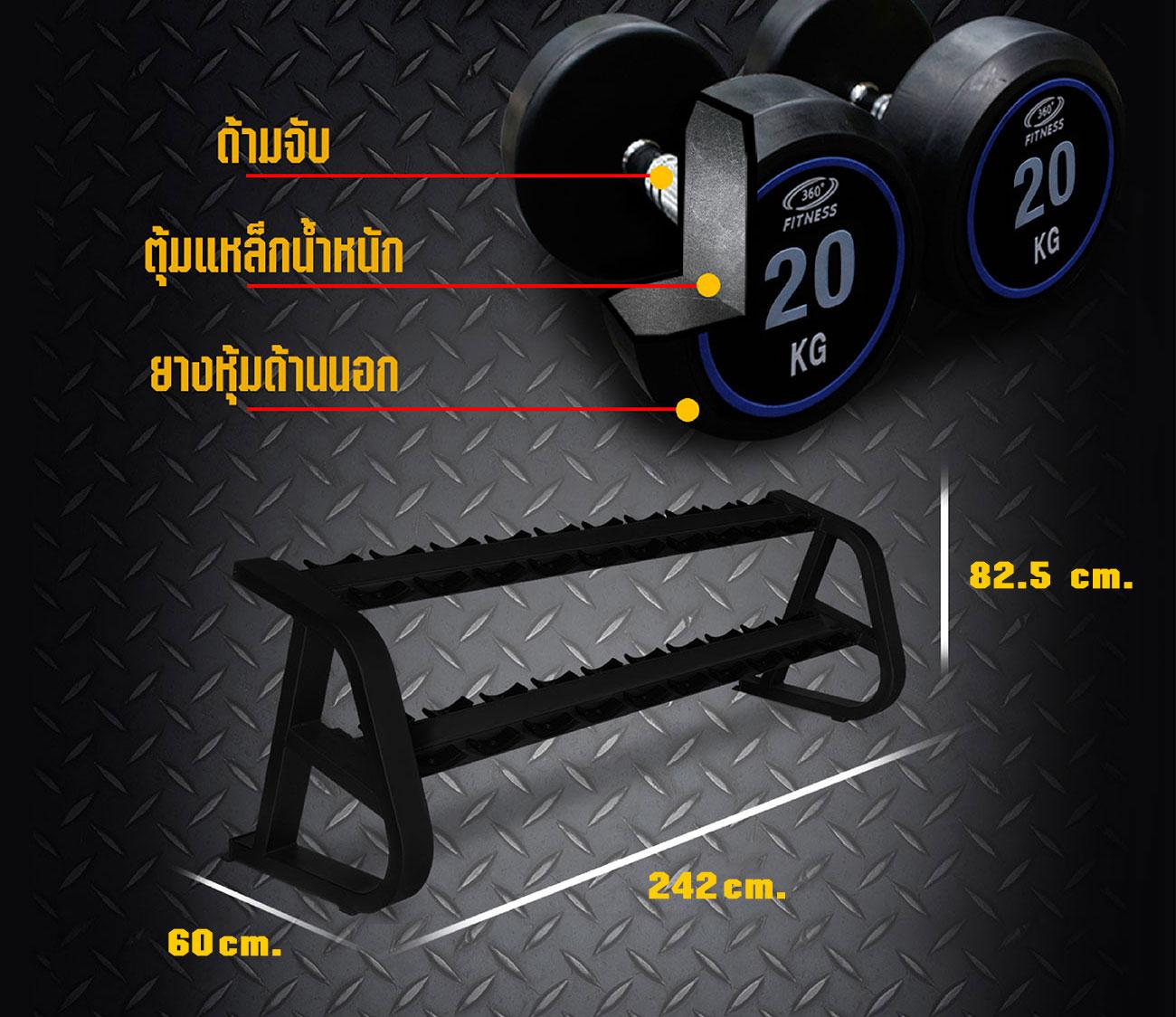 TPU DUMBBELL SET 2.5KG - 25KG with Rack 20pcs.